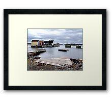 Fishing Sheds,Blue Rocks Framed Print