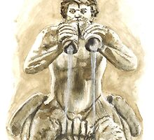 Detail of the fountain of Moro, Piazza Navona, Rome by Greta Art Roma