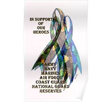 Collage of Ribbons Honoring our Troops Poster