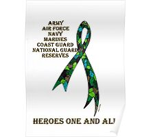 Green Camoflauge Ribbon of Support Poster