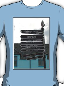 Signpost in Gaelic, Stornoway, Isle of Lewis, Scotland T-Shirt