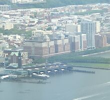 Aerial View of Erie Lackawanna Train and Ferry Terminal, Hoboken, New Jersey  by lenspiro