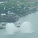 Aerial View of Fire Boat, Governors Island, View from One World Observatory, World Trade Center Observation Deck by lenspiro