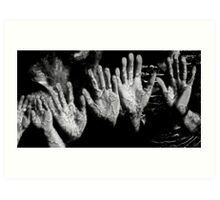 Six Hands at the Waterwall. Mothers & Daughters. Art Print