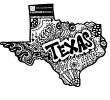 Hipster Texas State Zentangle by alexavec