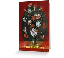 Birthday Wishes - Carnations In A Glass Vase Greeting Card