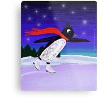 Skating Penguin Metal Print