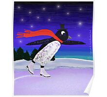 Skating Penguin Poster