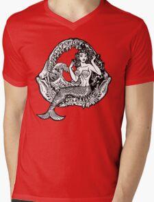 Mermaid and Shark Jaws Mens V-Neck T-Shirt