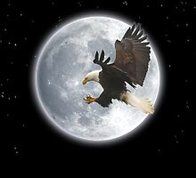 The Explorer (Bald Eagle and Full Moon) by Skye Ryan-Evans