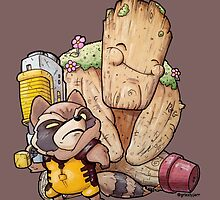 Rocket and Groot by GrizzlyJerr