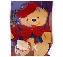 Jolly Christmas teddy bear Poster