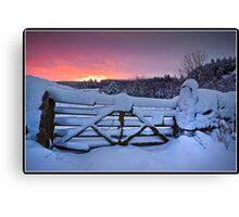 Snowy sunrise over Settle Canvas Print