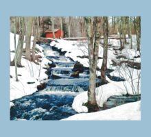 Waterfall cascading down snowy slope. New England winter scene Kids Tee