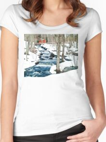 Waterfall cascading down snowy slope. New England winter scene Women's Fitted Scoop T-Shirt