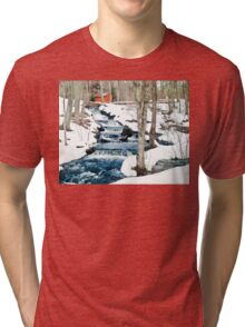 Waterfall cascading down snowy slope. New England winter scene Tri-blend T-Shirt