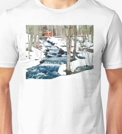 Waterfall cascading down snowy slope. New England winter scene Unisex T-Shirt
