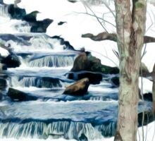 Waterfall cascading down snowy slope. New England winter scene Sticker