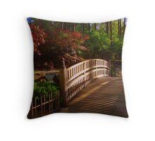 Bridge in Japanese Garden Throw Pillow