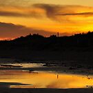 Amber Sunset on Donabate Strand. by Finbarr Reilly