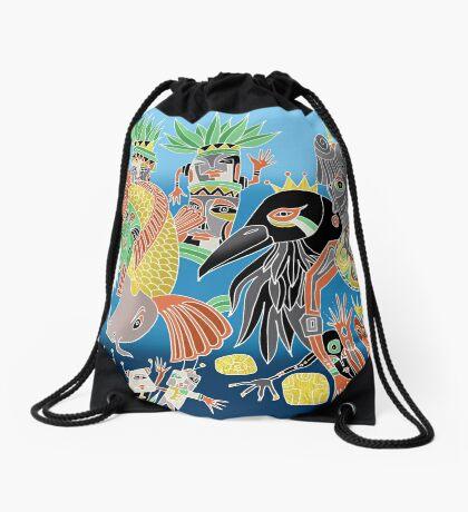 the koi the crow and elephant shaman Drawstring Bag