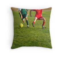 Soccer Players Battling for Ball Throw Pillow