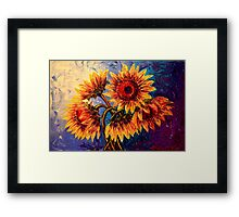 The Five Sunflowers Framed Print