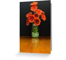 Glass Vase Holds Burnt Orange Daisies Greeting Card