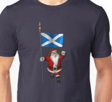 Santa Claus With Flag Of Scotland Unisex T-Shirt