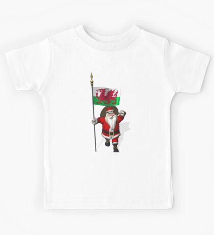 Santa Claus With Flag Of Wales Kids Tee