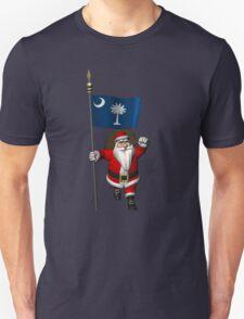 Santa Claus With Flag Of South Carolina Unisex T-Shirt