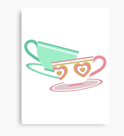 Mad Tea Party Teacups - Pink & Green Canvas Print
