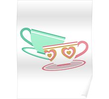 Mad Tea Party Teacups - Pink & Green Poster