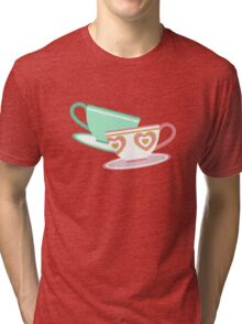 Mad Tea Party Teacups - Pink & Green Tri-blend T-Shirt