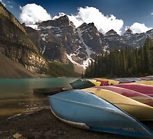 Canoes on the Moraine lake, Banff National Park, Canada by alopezc72