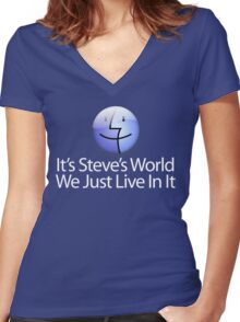 It's Steve's World - We Just Live In It - White Text Women's Fitted V-Neck T-Shirt