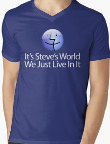 It's Steve's World - We Just Live In It - White Text Mens V-Neck T-Shirt