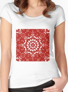 red background  Women's Fitted Scoop T-Shirt