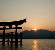 Miyajima sunset - Torii gate near Itsukushima shrine by Alex Dundon