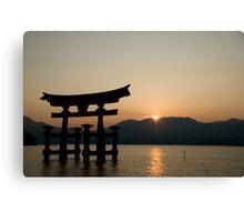 Miyajima sunset - Torii gate near Itsukushima shrine Canvas Print