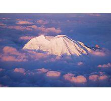 Sunset on Rainier from 33,000 feet Photographic Print