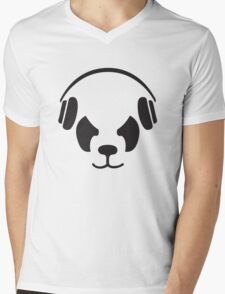 Panda With Headphones Mens V-Neck T-Shirt