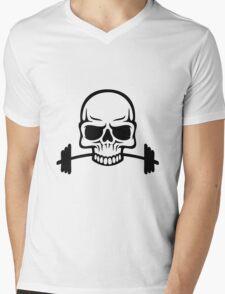 Barbell Skull Mens V-Neck T-Shirt