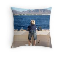 Boy on a boat Throw Pillow