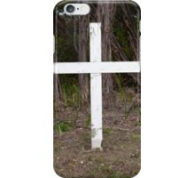 White cross in old graveyard iPhone Case/Skin