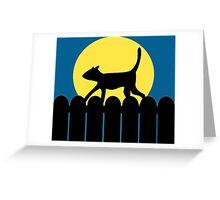 A Cat in a Long Dark Night Greeting Card
