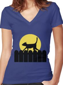 A Cat in a Long Dark Night Women's Fitted V-Neck T-Shirt