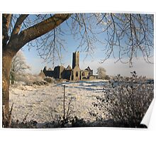 Quin Abbey in winter Poster