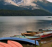 Canoes on the Maligne Lake , Jasper National Park , Canada by alopezc72