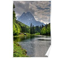 Lake Riessersee and Mount Alpspitz. Germany. Poster